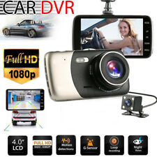4'' Dual Lens Camera Full HD 170° 1080P Car DVR Video Dash Cam Recorder G-Sensor