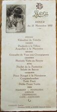 MENU - 1932 French Wedding w/Wine: Marigny/Marmande/Chinon/Champagne