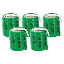 5x Exell 1/3AA NiMH 300mAh 1.2V Flat top Rechargeable Battery with Tabs