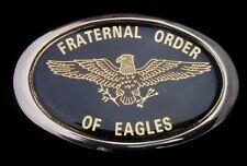 NICE VINTAGE 1980'S FRATERNAL ORDER OF EAGLES BELT BUCKLE F.O.E. SOLID BRASS