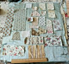 20 Pcs Of Antique French & American Floral Cotton Quilt Or Doll Sample Fabrics