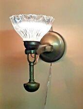Lamp / Bracket Handl for Boat Bronze Cut Glass Vintage 1940