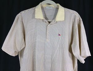 Peter Millar Mens Cotton Yellow Purple Striped W Flag Logo Polo Golf Shirt XL