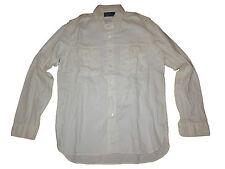 Polo Ralph Lauren White Linen Blend Officers Military Expedition Shirt Medium