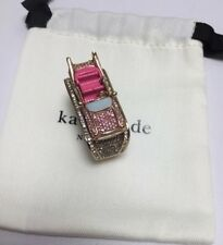 Kate Spade Yours Truly Car Pink Cadillac Pave double ring, Size 6 & 7 w/ KS Bag