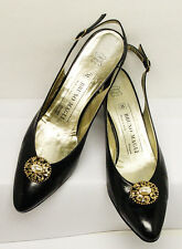 """BRUNO MAGLI MADE IN ITALY BOLOGNA SZ 7AAA 2"""" SLINGBACK PUMPS GOOD USED CONDITION"""