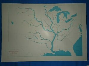 Vintage 1947 MAP ~ MAIN RIVER BASINS of the UNITED STATES Old Original Atlas Map