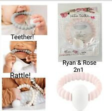 Ryan and Rose Cutie 2 in 1 Teether and Rattle Pink