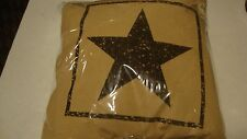 """Country house new 16"""" black STAR burlap decor pillow cover w/ pillow /nice"""