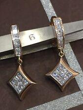 Classy 1.96 Cts Princess Cut Diamonds Dangle Earrings In Fine Certified 14K Gold
