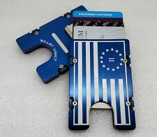 2% American Flag, Aluminum Wallet/Credit Card Holder, RFID Protection, Blue