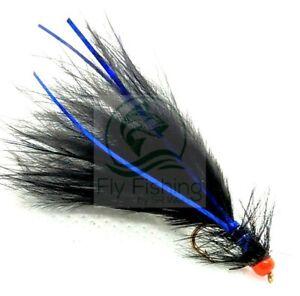 3 Hot Head BLACK Blue Flash DAMSEL Flies UV ORANGE Trout Fly Fishing #10,12,14