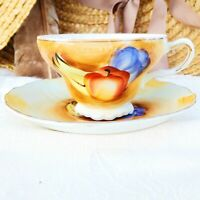 Vintage Fairway Japan Tea Cup & Saucer Set Hand Painted Fruit Trio Gold Trim