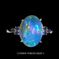Oval Fire Opal Full Flash 14x10mm Sapphire Diamond Cut 925 Sterling Silver Ring