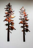 "Two Pine Trees Metal Wall Art Decor 10"" & 12"""