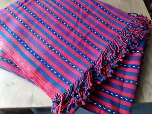 """Cotton Blue & Red Tasselled Throw Tablecloth Chair Cover Great Condition 64x62"""""""