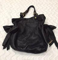 Juicy Couture Black Leather Handbag/Purse Gold Hardware