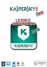 KASPERSKY ANTIVIRUS 2018 3 PCS / 1 AN   Licence envoyée par mail