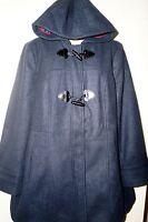 "GEORGE UK Women's Faux Wool Hooded Toggle Duffle Coat Jacket ""NAVY"" Size 18 NWT"