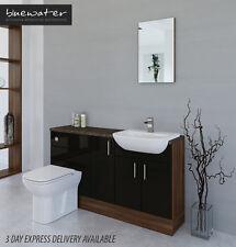 BLACK / AMERICAN WALNUT BATHROOM FITTED FURNITURE 1500MM