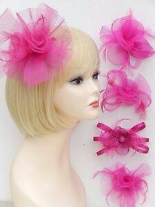 Pink Fascinator Brooch Clip Hair Feather Flower Wedding Prom Ladies Day Races UK