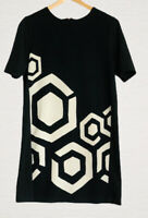 Desigual Tunic Dress Black & White Mod Style Short Sleeves Size M Smart Work