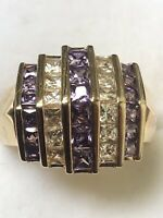 Ross Simons Unique Amethyst Cubic Zirconia Gold Over Sterling Ring Size 6