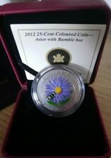 Canada 2012 Colored 25 cent Coin Aster with Bumble Bee