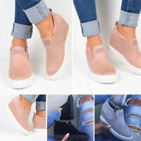 Women Ladies Slip-on Wedge Heel Sneakers Sport Casual Platform Shoes Loafer/ X1
