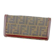 Fendi Wallet Purse Zucca Black Brown Woman unisex Authentic Used T5431