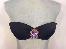 VICTORIA`S SECRET JEWELED PUSH-UP BANDEAU SWIM TOP BLACK SIZE 34A