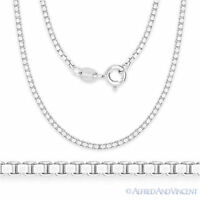 Solid .925 Sterling Silver Rhodium Plated 1.5mm Box Link Italian Chain Necklace