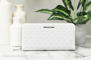 Michael Kors Jet Set Bright White Signature Leather Large Travel Wallet Clutch