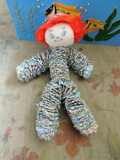 Vtg Yo Yo Fabric Rounds Doll Embroidered Happy Face Red Hair Hat Blue Plaid toy
