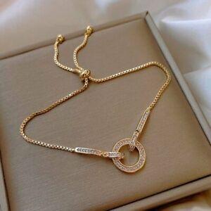 2021 Fashion Round Zircon Adjustable Bracelet Bangle Charm Women Wedding Jewelry