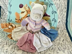 Hand Knitted 100% Cotton Premature / Small New Born Baby Girl Boy Cardigans