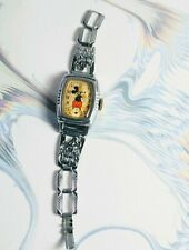 Vintage 1930's Oblong Ingersoll Mickey Mouse Watch Running Original Figural Band