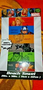 """Marvel Avengers Beach Towel - 100% Cotton - 58"""" by 28"""" - NEW  Black Panther Thor"""
