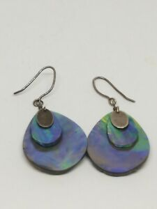 Handcrafted Sterling Silver Abalone Shell Dangle Earrings