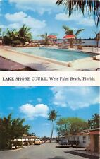 West Palm Beach Florida 1956 Postcard Lake Shore Court Motel