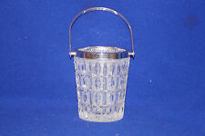 """5 1/2"""" glass ice bucket with silver trim & handle"""