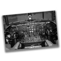 Vintage Airplane Cockpit Pilot Co-Pilot Black and White Air Force Poster
