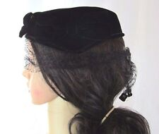 Vtg Mourning Gothic Black Velvet Veil Juliet Calot Hat Capulet Shell Pillbox