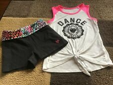 Girls Justice Dance sleeveless tee yoga shorts outfit size 8(Euc)
