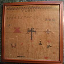 Mid 19Th Century, Horse, Motif & Alphabet Sampler Signed C.S.1862 horse farrier