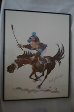 Willie Shoemaker Riding John Henry PEB original print -Autographed by PEB RARE!