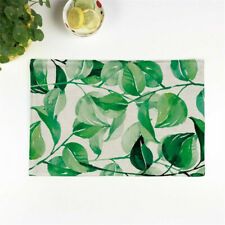 Western Green Plant Linen Tableware Insulation Kitchen Bowl Pot Placemat SHAN