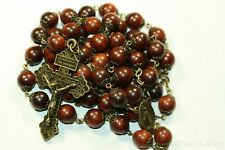 Large 10mm Red Wood Rosary Bronze made in Oklahoma Pardon Crucifix light weight