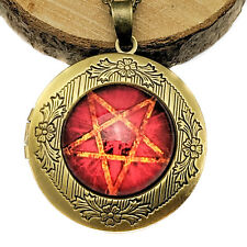 Antique Gold Tone Inverted Pentagram Red Cabochon Style Locket Pendant Necklace