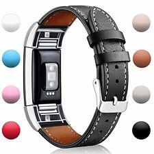 For Fitbit Charge 2 Replacement Bands, Classic Black Genuine Leather Wristband